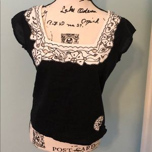 Anthropologie black and white doily crop top, Sz M